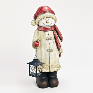 Sneeuwpop met lantaarn en rode muts, 50 cm - WD00022