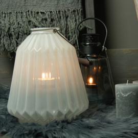 Windlicht Glass Huricane Conic White L