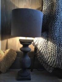 Balusterlamp incl. Velvet kap zink/grafiet