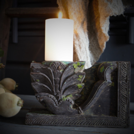 Houten kandelaar ornament