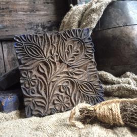 Oude Indiase blokprint stempel 13,5x13,5cm