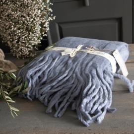 Goround Interior Woolen Plaid Large Fringes Steelblue