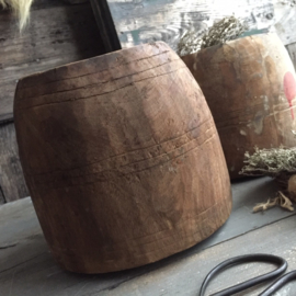 Oud houten pot ( Seed bowl ) 18cm drsn. | 18cm H