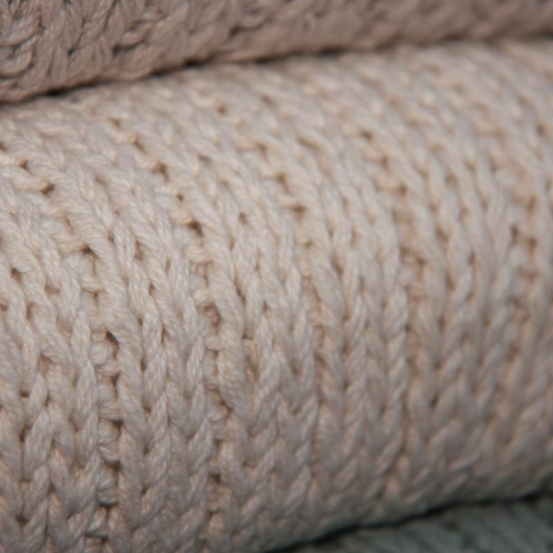 Lime-Light Plaid knit Ecru 130x170cm