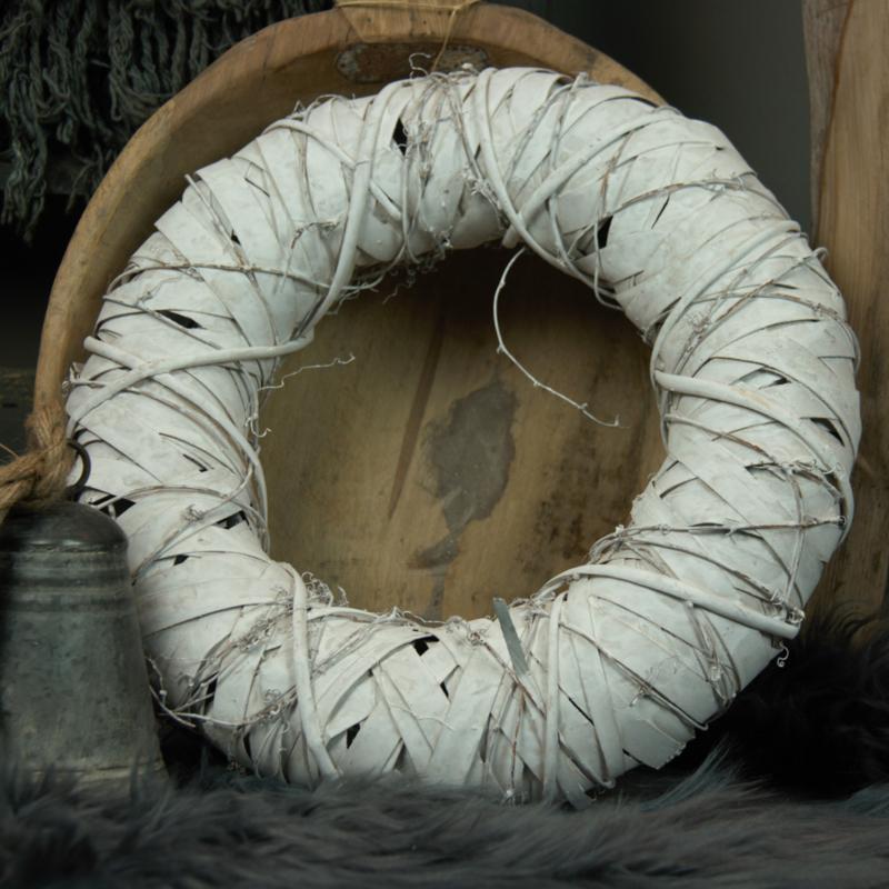 Krans wood fine white 40cm drsn.