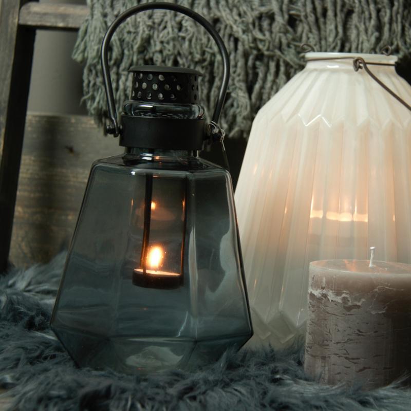 Windlicht Glass lantern Light Blue