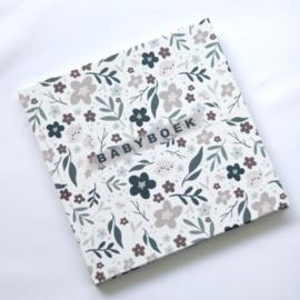 Babyboek bloemenprint linnen cover