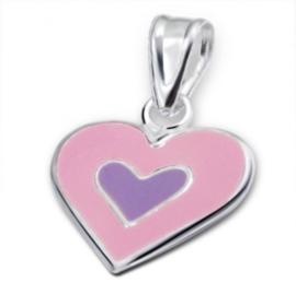 Lichtroze zilveren hart  hanger