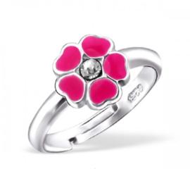 Roze bloem losse bladeren kinderring