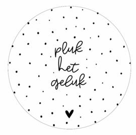 Muurcirkel wit met tekst 'Pluk het geluk' -20cm