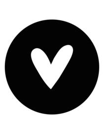 Muurcirkel zwart met wit hart -30cm