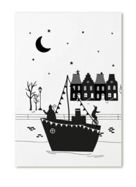 Poster A4 Sinterklaas stoomboot