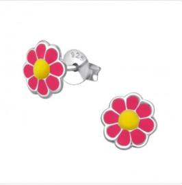 Roze bloem oorbellen