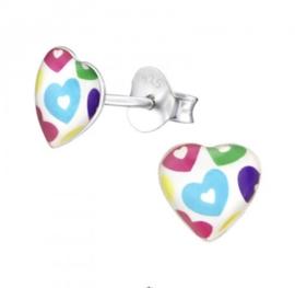 Gekleurde hartjes 3D oorbellen