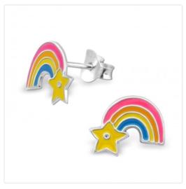Regenboog met ster oorbellen