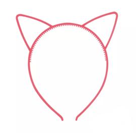 Haarband kattenoortjes fluorroze