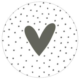 Muurcirkel olijfgroen hart en dots -40cm