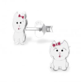 Wit katje oorbellen