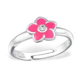 Roze bloem kinderring