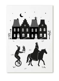 Poster A4 Sinterklaas grachtenpanden
