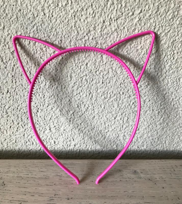 Haarband kattenoortje fuchsia