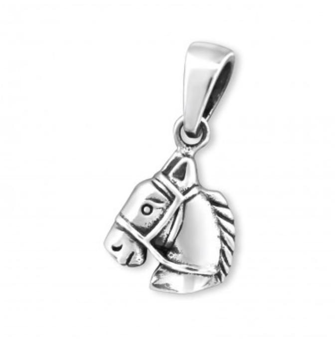 Zilveren hanger paardenhoofd