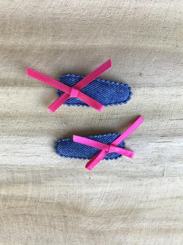 Haarknipjes jeans/ roze