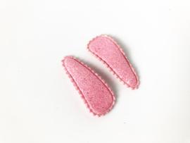 Haarspeldjes glitter licht roze