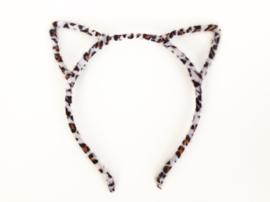 Diadeem poezenoortjes leopard beige