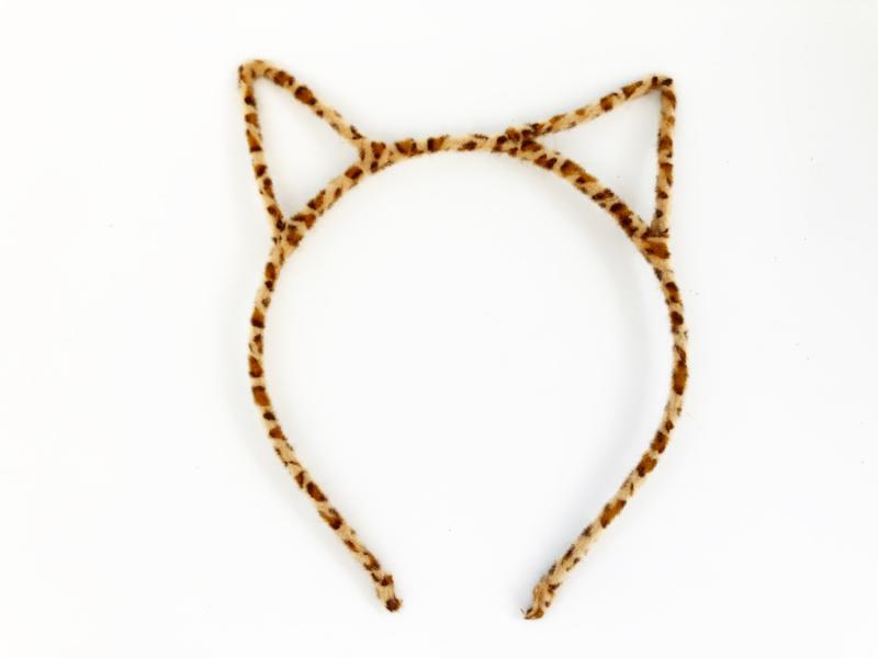 Diadeem poezenoortjes leopard bruin