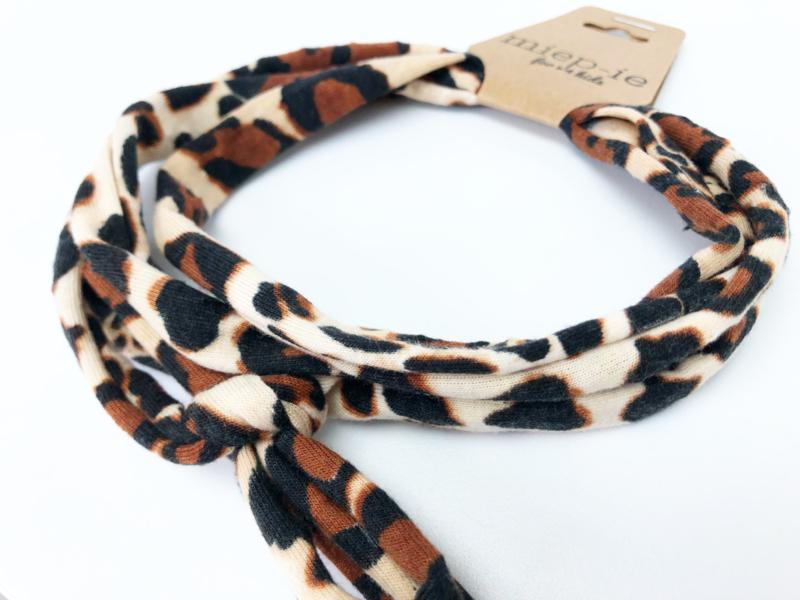 Knoop haarbandje leopard