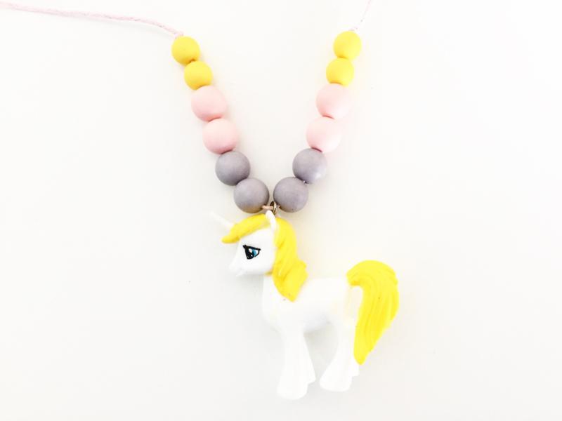 Kinderketting unicorn  geel