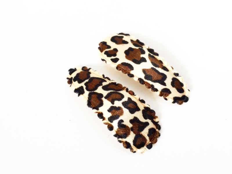 Haarspeldjes leopard satijn bruin
