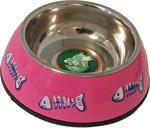 Katteneetbak plastic/RVS met graat 14 cm, roze.