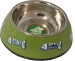Katteneetbak plastic/RVS met graat 14 cm, groen.
