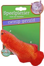 Kattenspeelgoed op kaart vis met catnip oranje, 11 cm.