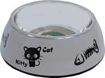 Katteneetbak plastic/RVS kitty cat, 14 cm taupe.