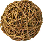 Knaagdierbal met bel natural, 14 cm.