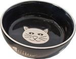 Kattendrinkschotel zwart poes met graat, Ø 13 cm.