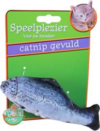 Kattenspeelgoed op kaart vis met catnip blauw/grijs, 11 cm. (