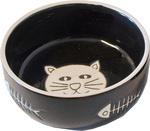 Katteneetbak zwart poes met graat, Ø 11 cm.