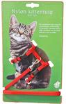 Nylon kittentuig met lijn, rood