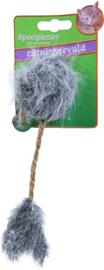 Kattenspeelgoed op kaart pluche muis met catnip en staart, 16 cm.
