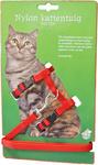 Nylon kattentuig met lijn, rood.
