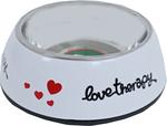Katteneetbak plastic/RVS love therapy, 14 cm wit.