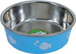 Katteneetbak RVS vis 11 cm, lichtblauw.