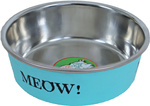 Katteneetbak RVS meow 11 cm, mint.
