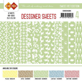Card Deco - Designer Sheets - Sweet Pet-Meigroen CDDSMG004