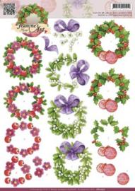 3D Knipvel - Jeanines Art - Christmas Wreaths CD10552