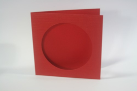 CraftEmotions linnen kaart passepartout rond 1st rood 13,5x13,5cm 250gr - 001238/1200
